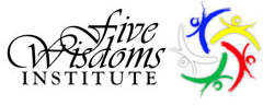 The logo of the The Five Wisdoms Institute with five caligrphic figures in the five buddha family colors