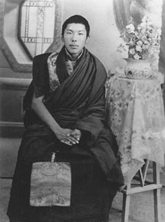 Photo of Chogyam Trungpa  as a young man  in monks robes