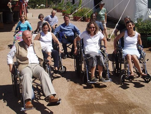 The Mandala Council trys navigating SMC in wheelchairs