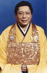 "Phtot of Chogyam Trungpa in yellow robes in the late 70""s"