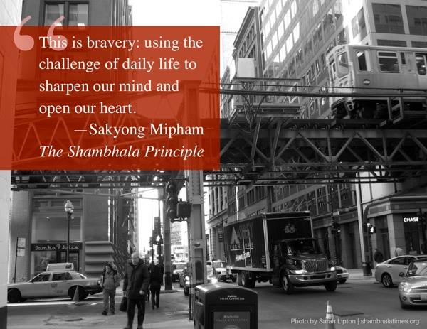 This is bravery: using the challenge of daily life to sharpen our mind and open our heart. --Sakyong Mipham, The Shambhala Principle.
