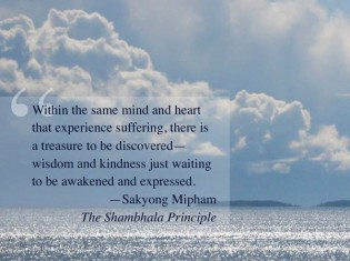 Within the same mind and heart that experience suffering, there is a treasure to be discovered--wisdom and kindness just waiting to be awakened and expressed.  SMR The Shambhala Principle