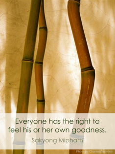 Everyone has the right to feel his or her own goodness. SMR