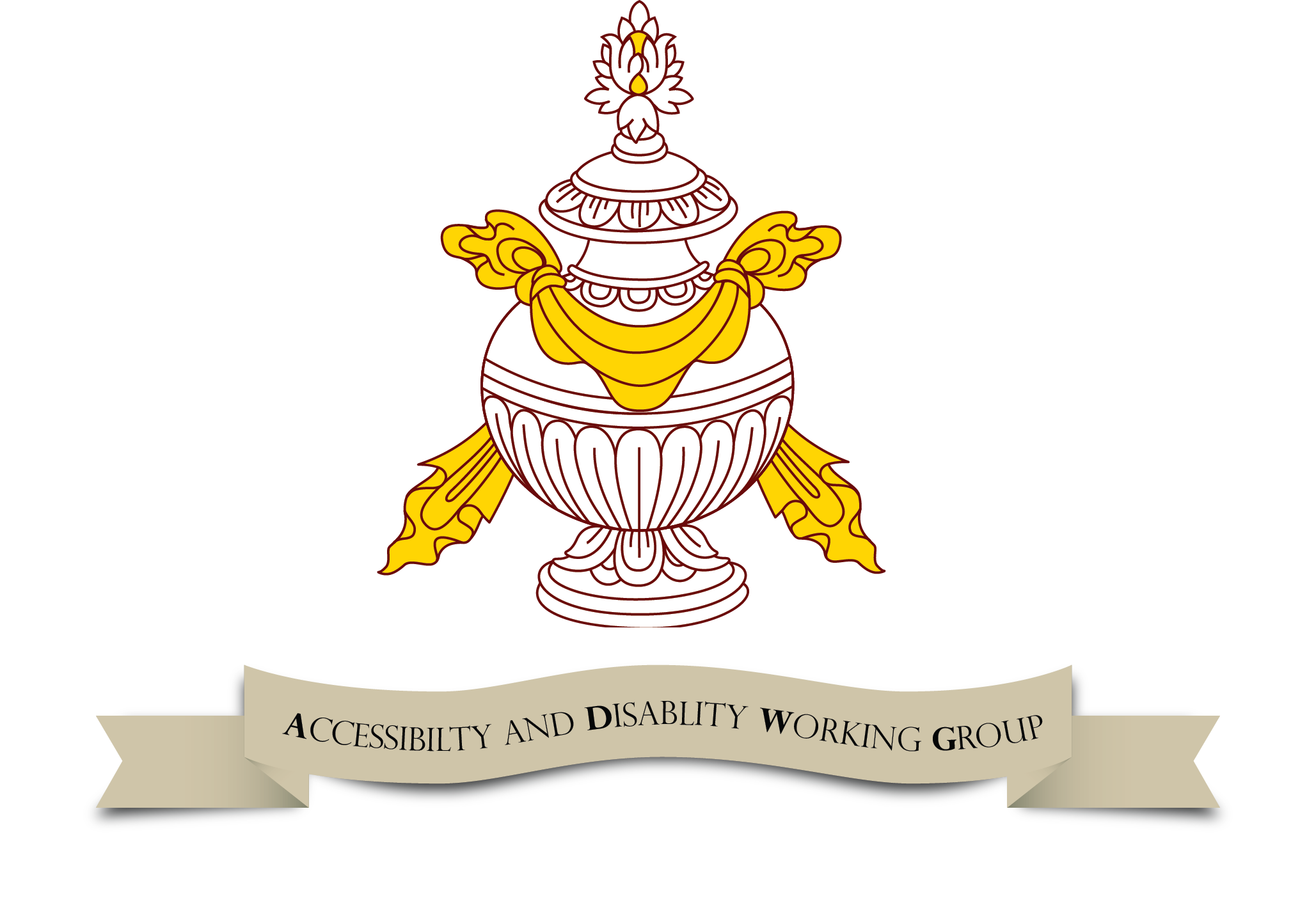 Logo of the Accessibility and Disability working group of the Office of Social Well-being and Health - a vase with banner underneath